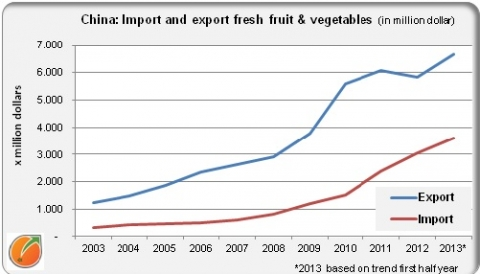 Chian import fresh fruit & vegetables