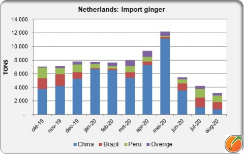 Netherlands import ginger by month