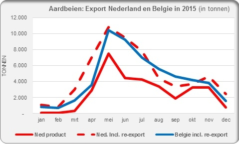 Export strawberries Netherlands Belgium 2015